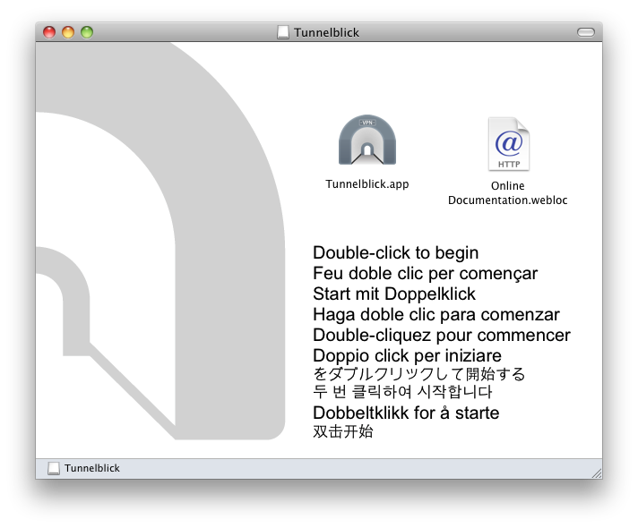 Finder window showing a Tunnelblick icon labeled 'Tunnelblick' and a document icon labeled 'Online Documentation'