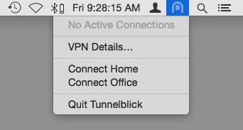 menu popped down from the Tunnelblick icon in the menu bar showing the following items: 'no active connections', 'vpn details', 'connect home', 'connect office', 'quit Tunnelblick'